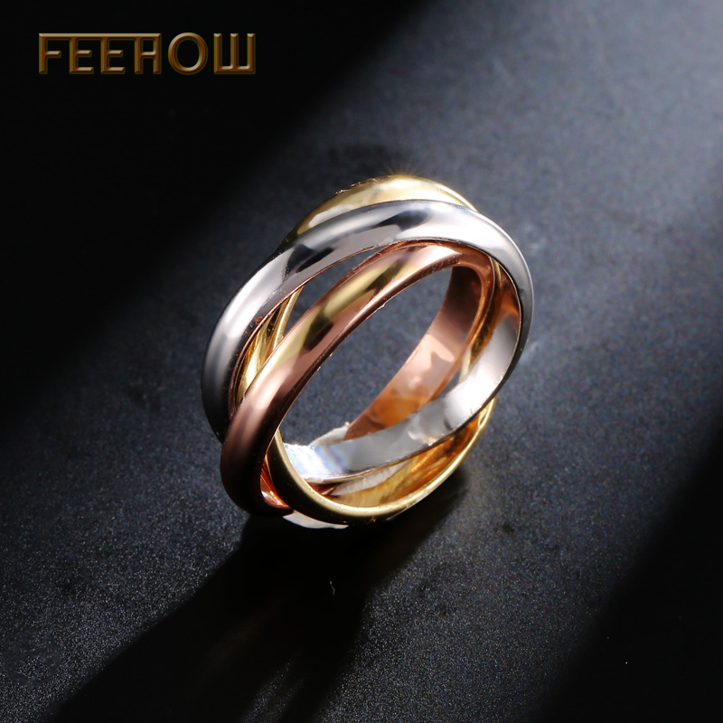 FEEHOW Personalized 3 Ring Jewelry Exquisite three circles Finger
