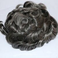 Eversilky серый парик для Для мужчин части волос Изысканные моно Для мужчин тупею человеческих волос прочный заменив Для мужчин t парики