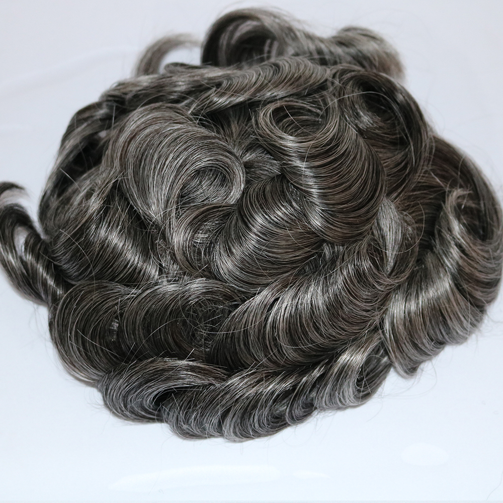 Eversilky Grey Toupee For Men Hair Pieces Fine Mono Men's Toupee Remy Human Hair Durable Replacment Wigs