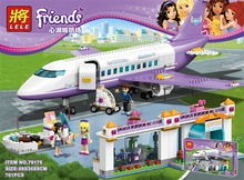 New Friends series the Heartlake Airport model Building Block set Classic Compatible With girl Airplane toys for children