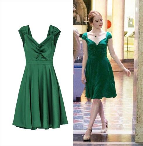 2017 nouveau la la land mia dress v cou sexy dress la m me genre vert robes comme emma stone en. Black Bedroom Furniture Sets. Home Design Ideas