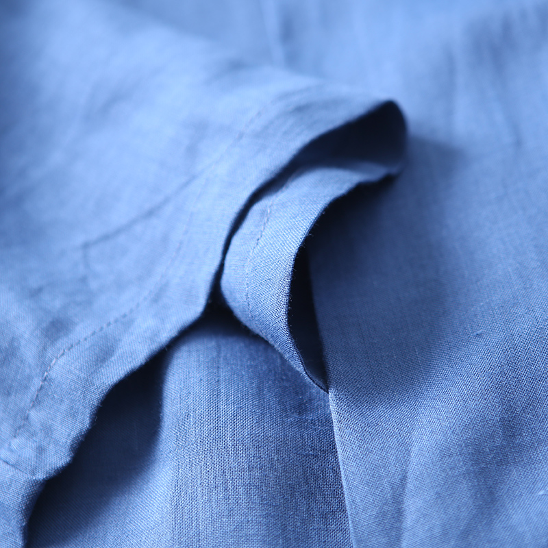 Blue À Manches Et Grande Arc Artistique Taille Longues The Cou Forme C1002 Lin En Écharpe Chemise Coton nw4qaFxY
