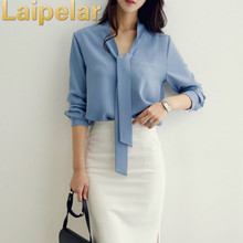 Spring Women Blouse Long-sleeved 2018 New Bow Tie Blusas Korean Loose Chiffon Shirt Womens Formal Top