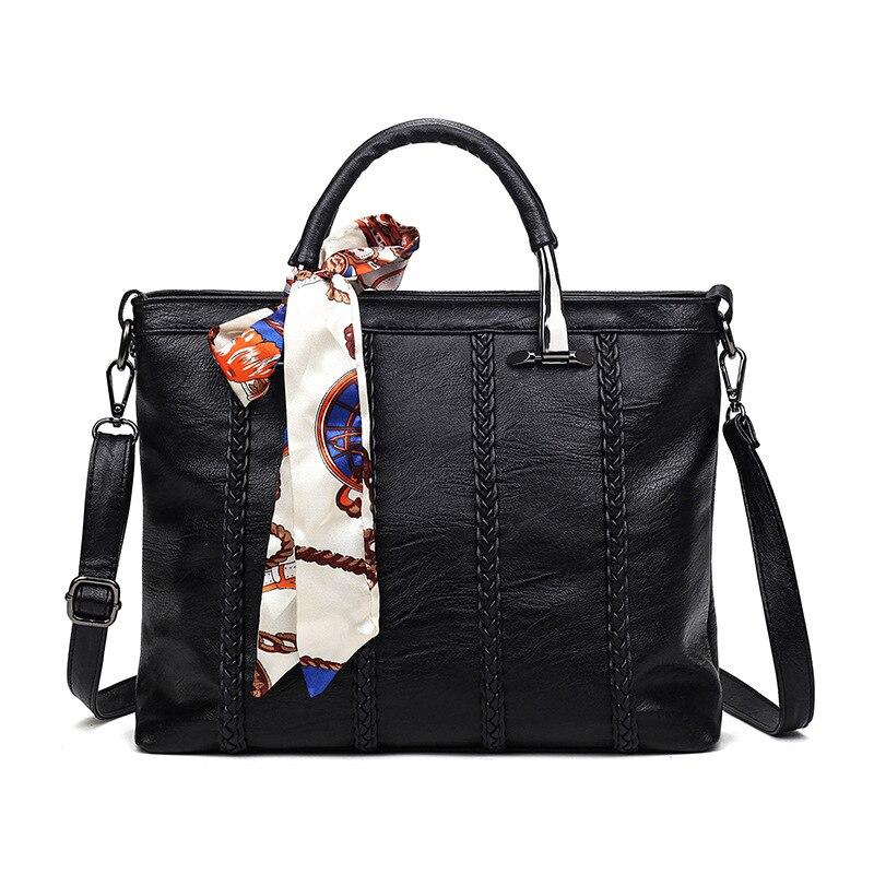 Women Designer Ribbons PU Leather Bags Handbags Causal Women Messenger Bag Tote Big Shoulder Bags Purse Bolsas Feminina ZH138