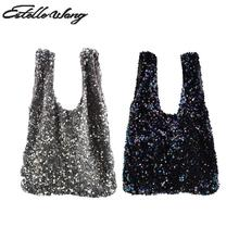 Exclusive Self made Starry Sequins Japanese Waistcoat Bead Piece Hand Bag Fashion Wrist Carry Bag Wrap Knot Pouch Coin Phone Bag