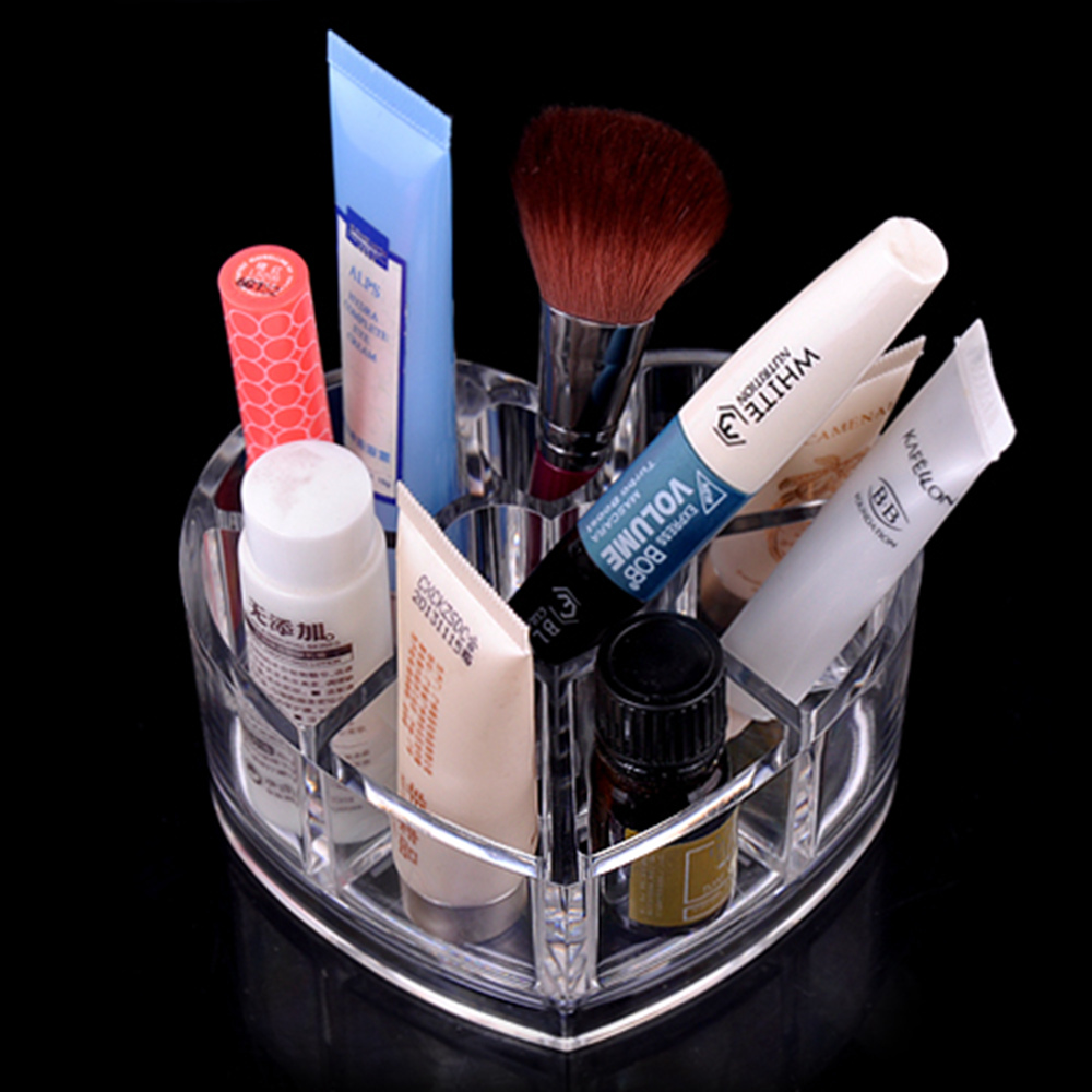 Lovely Heart-shaped Acrylic Makeup Cosmetic Organizer Plastic Transparent Crystal Lipstick Desktop Storage Box Christmas Gift