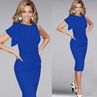 Nieuwe 2018 zomer vrouwen mode elegante jurken blauw Ruches Mouwloze stretch fit strakke avond potlood jurk