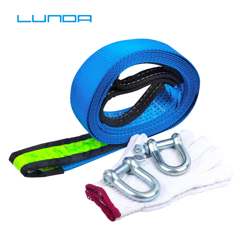 LUNDA 5M 8 Tons Tow Cable Tow Strap Car Towing Rope With Hooks High Strength Nylon For Heavy Duty Car Emergency Send Gloves