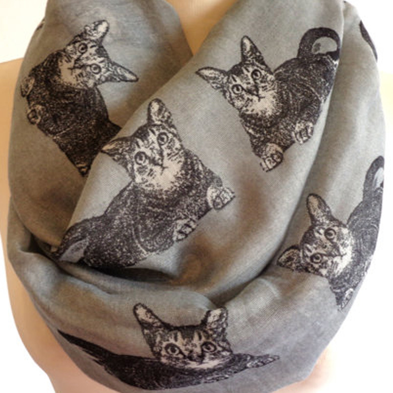 FOXMOTHER Free Shipping  Fashion Ladies Cute Woman Grey Navy Color Cat Print Ring Scarves Loop Cat Animals Scarfs For Womens