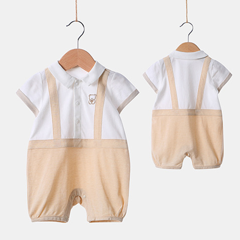 2018 New Baby Boys Short Sleeved Cotton Rompers European American Style Fake Two Piece Jumpsuit Infants Opening Crotch Clothing drop crotch loose two tone pants