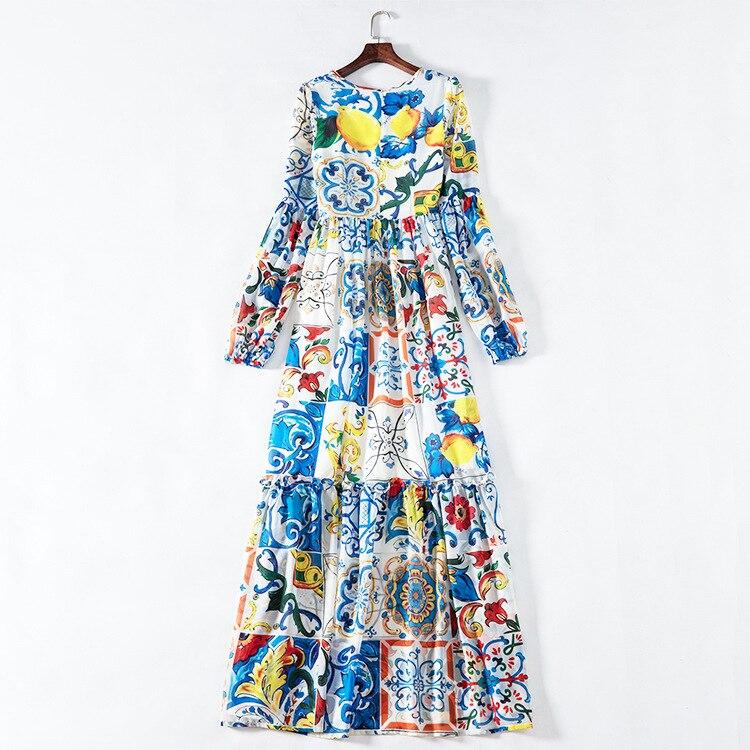 Feminino azul branco sicília porcelana padrões imprimir verão maxi vestido até o chão manga alargamento boêmio vestidos 2019 nova marca - 5