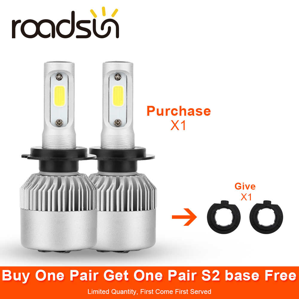 roadsun LED H7 H4 S2 Car Headlight 9005 9006 9004 9007 880 H1 H3 H13 H11 HB3 HB4 Led Automovil kit Auto Light Lamp Bulb 12V COB