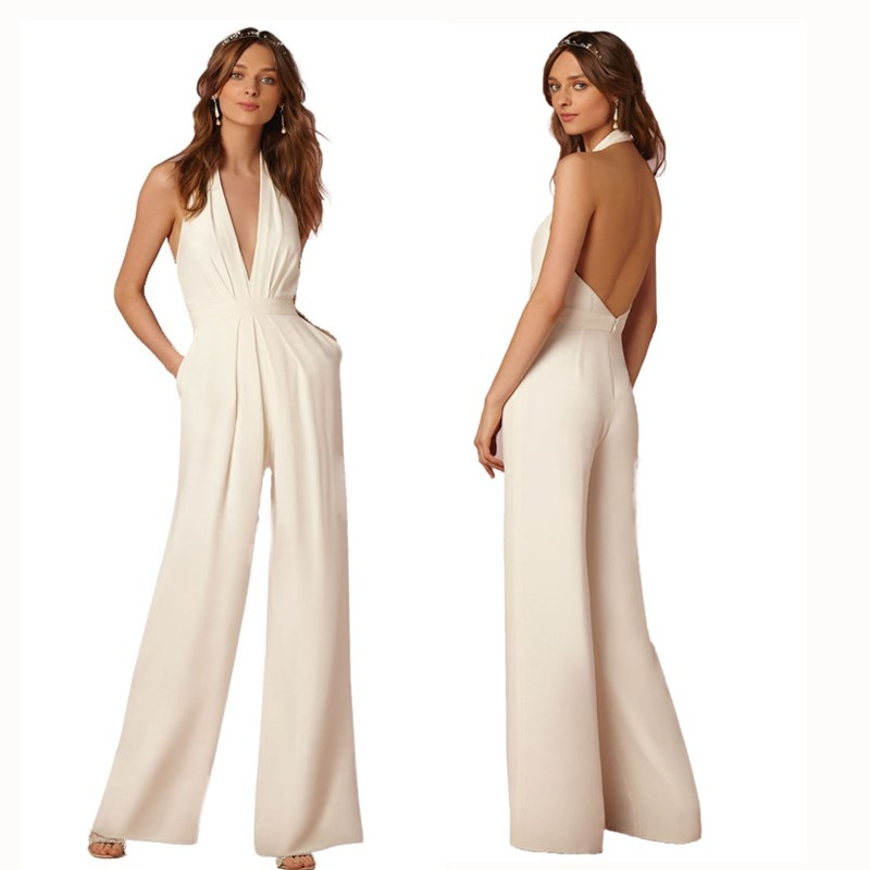 46b3ada5ebcc Detail Feedback Questions about Women s Fashion Jumpsuits Sexy Backless Halter  Sleeveless Elegant Casual Wedding Jumpsuit Deep V Neck Loose Overall Romper  ...