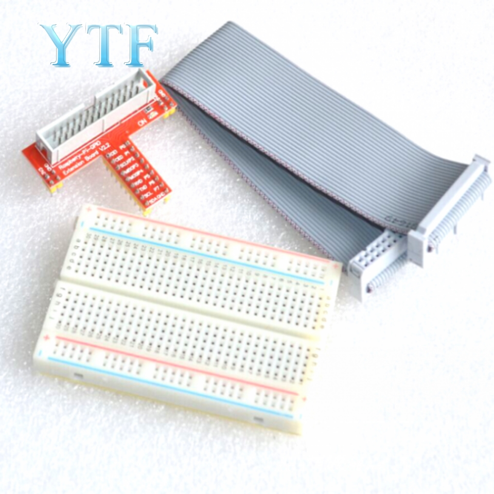 Raspberry Pi 2 3 B+ Extended DIY Kit (Connector + Premium 400 Hole Breadboard + GPIO Adapter Plate)
