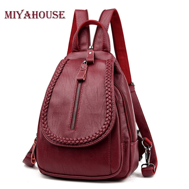 Miyahouse Fashion Women Backpack Genuine Leather Backpack Women Travel Bag College Preppy School Bag For Teenagers Girls Mochila purple flowers printed dream teenagers backpack fresh preppy adorable sthdents school bags fashion travel hiking computer bag