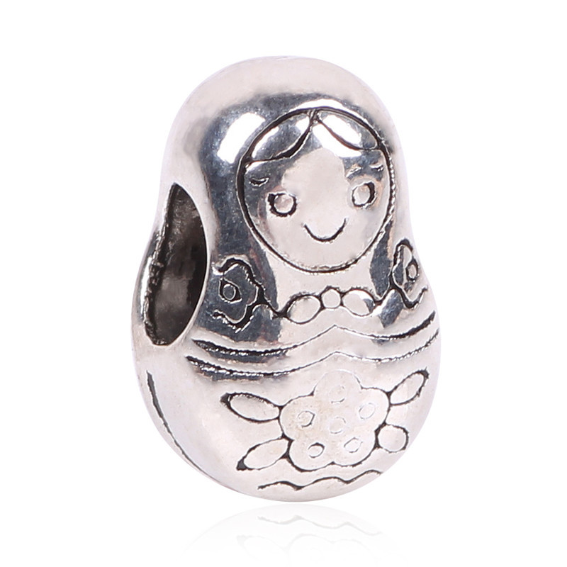 Free Shipping New Original Color Silver Russian Girl Doll Charm Beads Fits Pandora Charms Beads Bracelets Jewelry