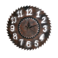 Creative Vintage Wooden Clock Antique Hanging Wall Clock Saw Blade Mute Quartz Decorative Wood Large Clocks Home Wall Decor