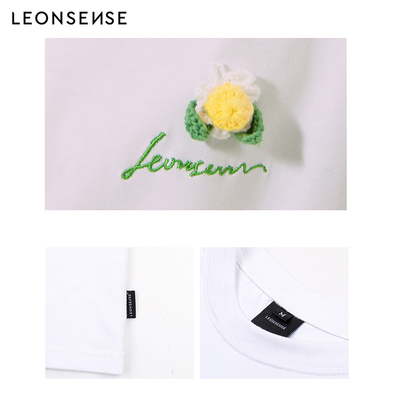 LEONSENSE original brand 2019 New Short Sleeve T shirt men Summer Simple T shirt Cotton O neck male T Shirts Flower Tees Tops in T Shirts from Men 39 s Clothing