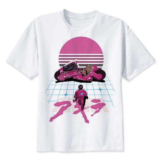 Akira Synthwave Camiseta anime japonês t-shirt moda Verão tshirt ocasional impressão branco para o sexo masculino confortável men top tees MR2300