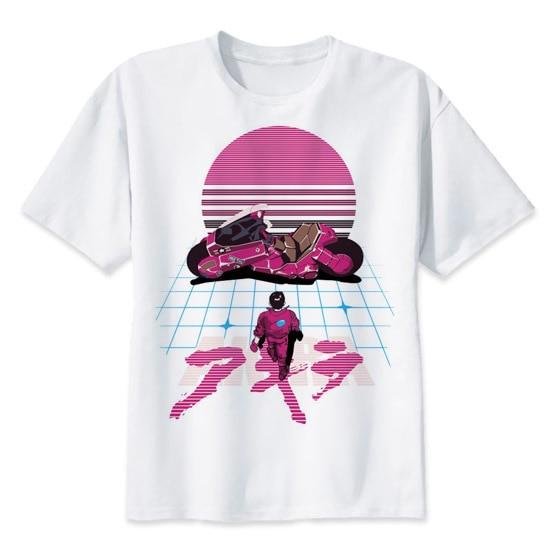 アキラ Synthwave Tシャツアニメ tシャツ夏のファッション tシャツカジュアル白のプリント男性快適なメンズ tシャツトップ MR2300
