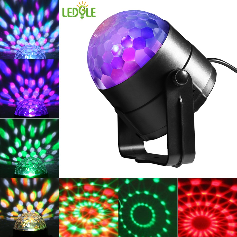 LEDGLE 5W Round Mini Stage Light Sound Activated LED Lights with Remote Controller 7 Lighting Modes 5 Colors Adjustable Speed