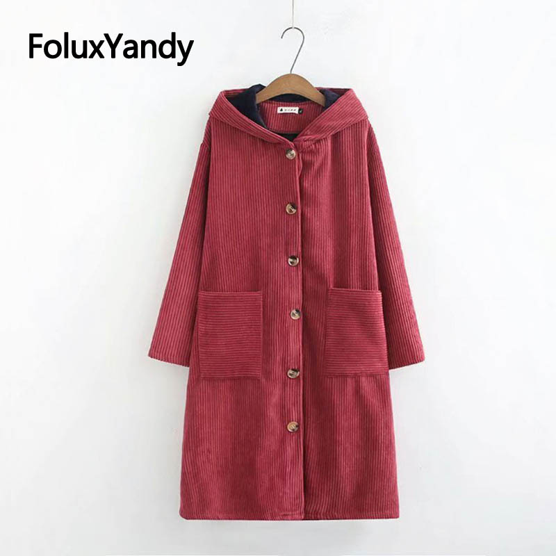 Warm Thick Corduroy   Trench   Coat for Women Casual Plus Size Loose Pocket Single Breasted Hooded Long   Trench   Outerwear KKFY2931