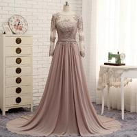 Long Sleeves Beaded Evening Dresses Party Elegant Gowns Champagne Chiffon A Line Vestidos De Festa Vestido