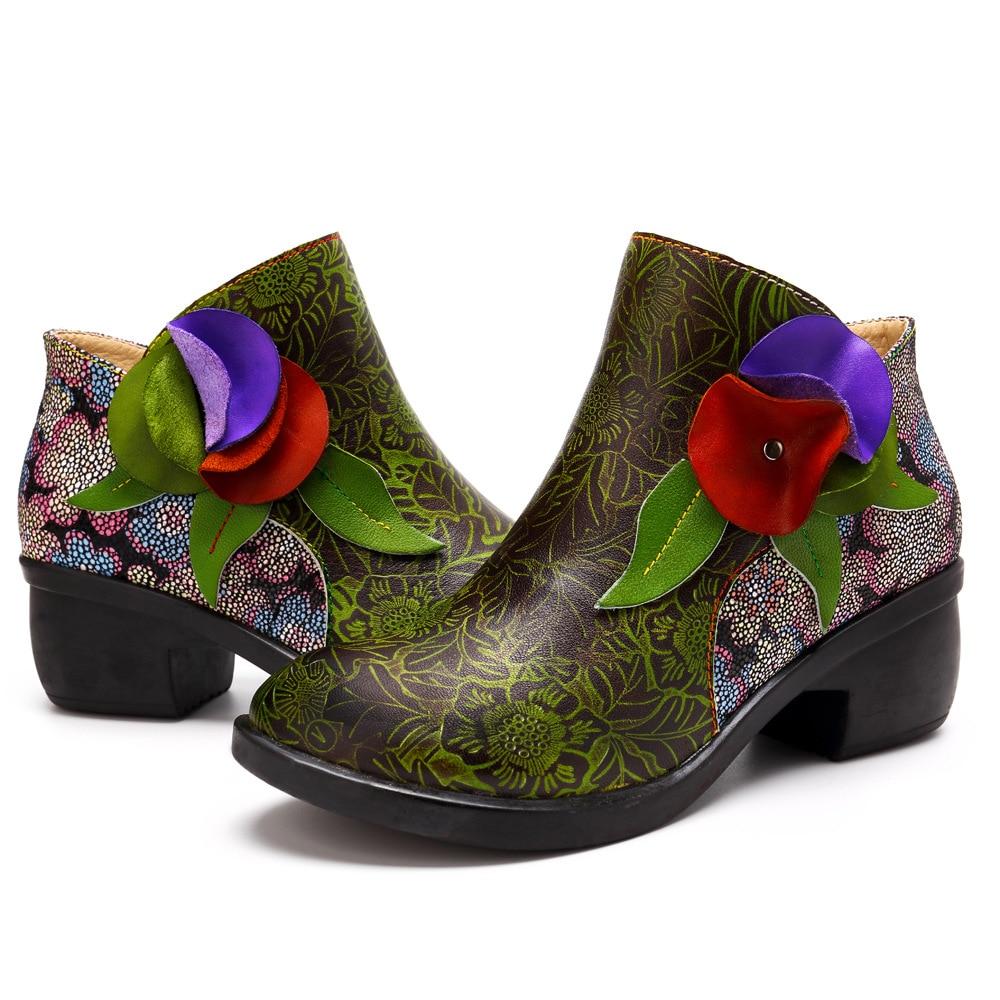 Johnature Dames National Cheville Véritable Fleur Bottes Pour Chaussures Vert Femmes Printemps Cuir 2019 Automne En Chaussons Patchwork Femme Nouveau rS1q6rx