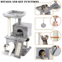Luxury Cats Tower with Double Condos Spacious Perch Fully Wrapped Cats Scratching Sisal Post and Replaceable Dangling Balls Gray