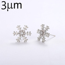 3UMeter New Fashion Snowflake Stud Earrings For Women Sliver Cute Small Christmas Earring Zirconia Crystal Party Jewelry