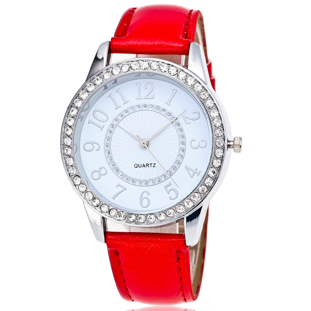 Fashion Casual Luxury Ladies Watch Multicolor Optional Crystal Leather Watch Band Simple Clock Dial Woman Dress Quartz Watch