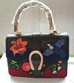 2017 bolsa nova saco de bambu retro espinho Bordado Sacola saco do mensageiro Saco Mochila maré bolsas das mulheres do vintage