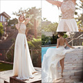 2017 New Arrival Sexy White Chiffon Beaded Appliques Lace Prom Dresses Long Halter Side Slit Spring Evening Party Gown