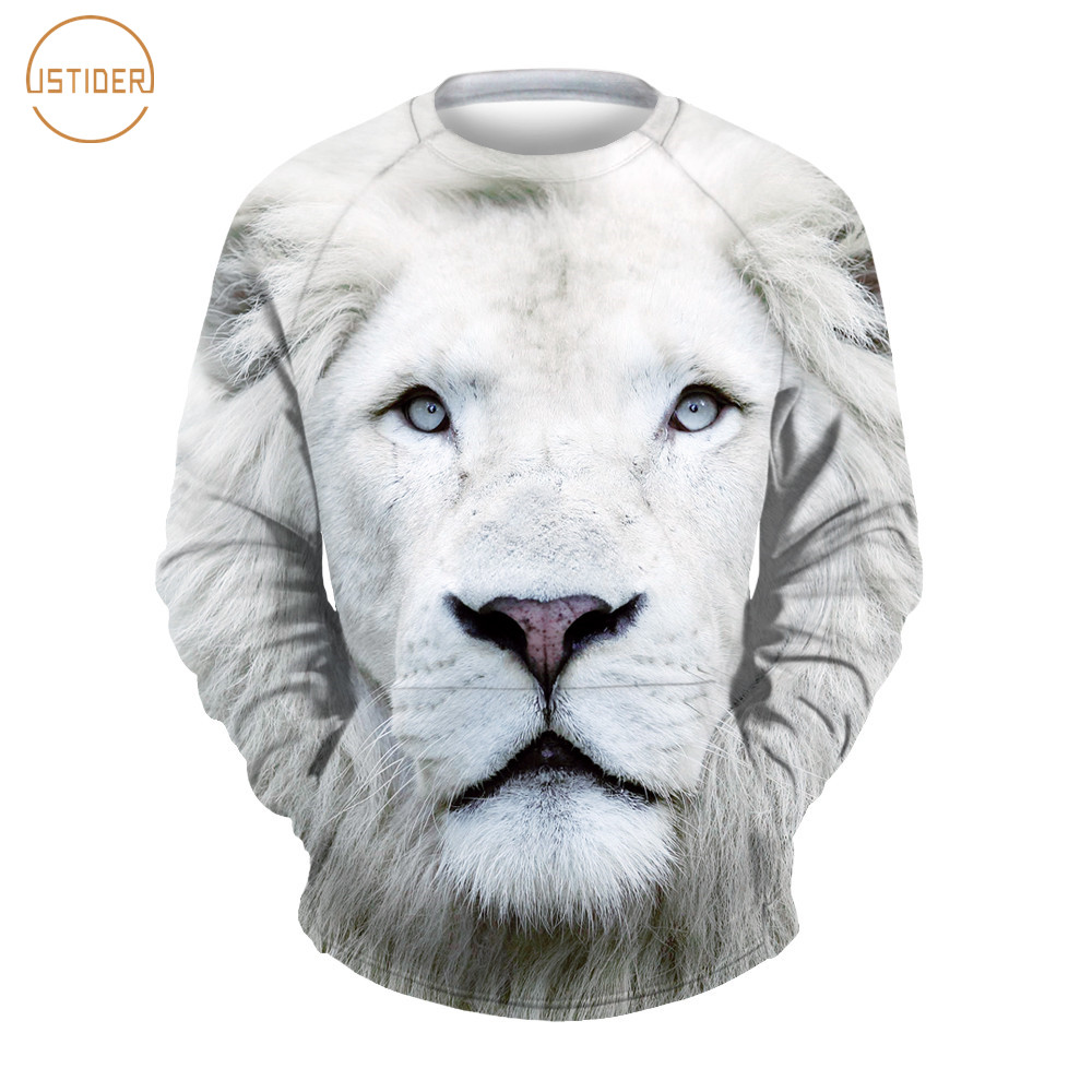 the best attitude 98952 1f9b4 US $15.76 17% OFF ISTider White Lion Sweatshirt Women/Men Harajuku Hoodie  Sweat Shirt Print Casual 3D Animal Graphic Spring Long Sleeved Pullovers-in  ...