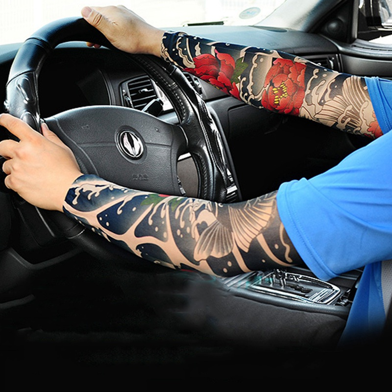 1PC Cycling Sports Tattoo Sleeves Cool Arm Sleeves Cycling Running Arm Warmer Sport Elastic Oversleeve Arm Warmers