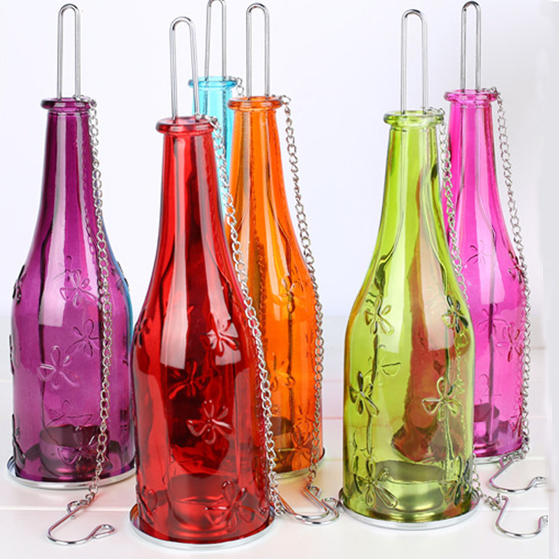 Eco friendly recycle wine bottle tealight candle holder glass eco friendly recycle wine bottle tealight candle holder glass hanging lantern hurricane indoor outdoor romantic lighting in candle holders from home workwithnaturefo