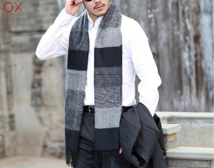 2019 Latest Design Sc3 2018 Designer Cashmere Warm Winter Designer Fashion Print Patchwork Long Scarf Male,elegant Men Striped Weaved Shawl 180*65 Discounts Sale Men's Scarves