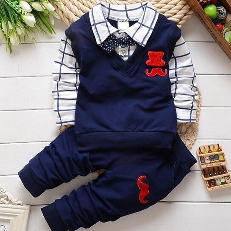 Nuevo 2017 Moda de Primavera y Otoño Ropa de Niño Conjunto Chaleco Tie Plaid Blu