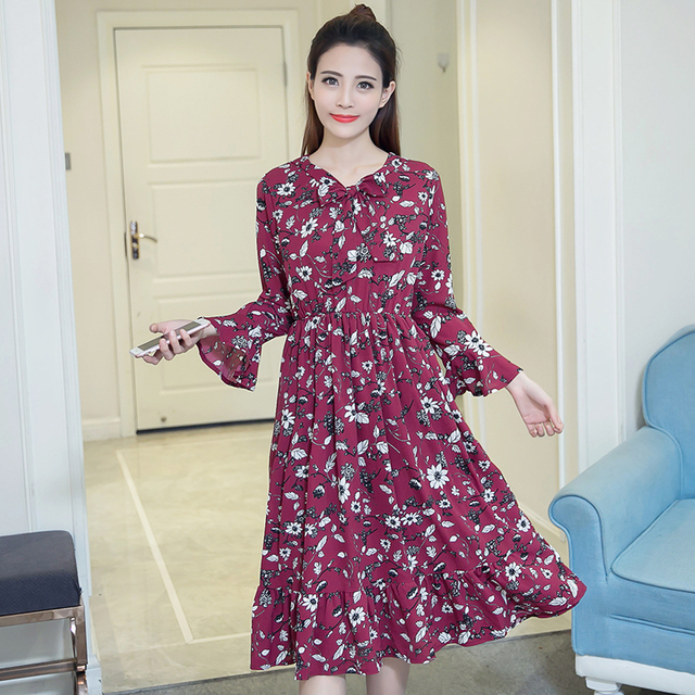 880ca874cab2 2018 New Spring Women dress Flare Sleeve Print Chiffon Dresses Wine Red  Black Flower 6700