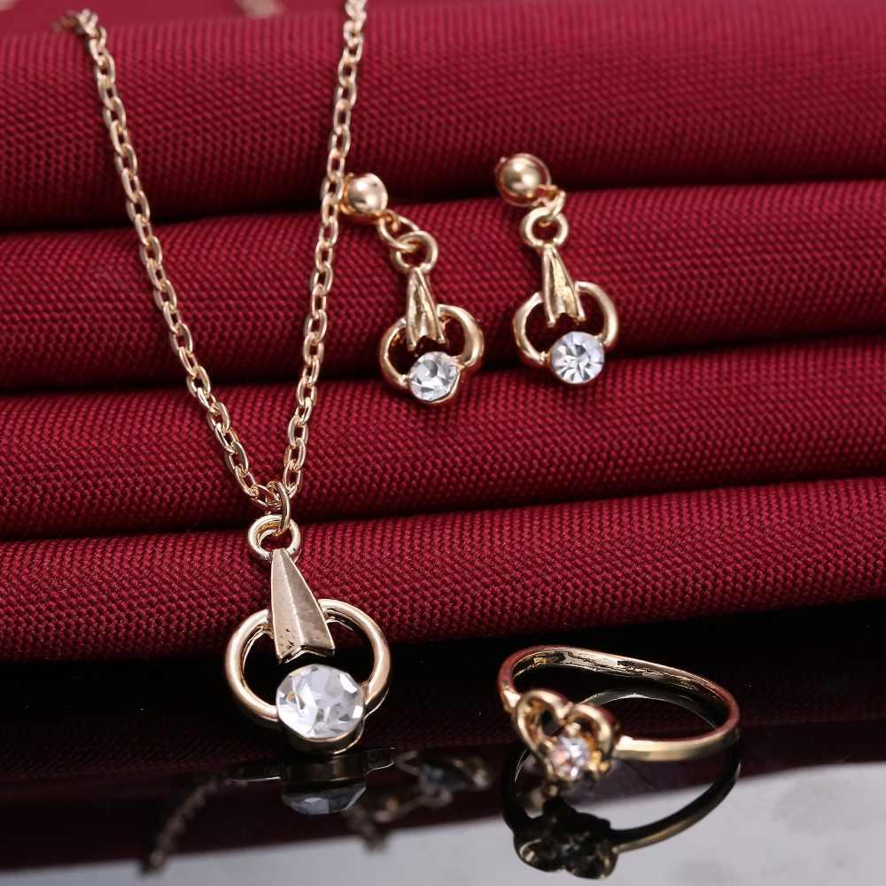 נשים תכשיטי סט חץ תליון שרשרת להתנדנד עגילי זהב תכשיטי סט עבור הכלה חתונה מתנה