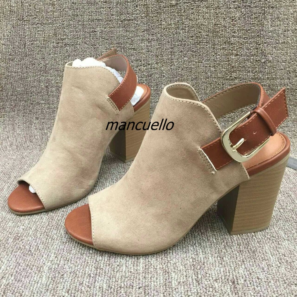 Fashion Buckle Style Color Matched Chunky Heel Sandals Sexy Slingback Block Heel Dress Shoes Women Comfy Sandal Booties sexy style bowknot embellished color block women s briefs