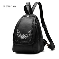 NEVENKA Women Leather Backpack Lady Fashion Floral Printing Backpacks Shoulder Female Casual Daily Shopping Bag School