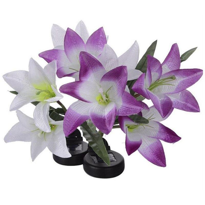 Solar Lights For Garden Decoration LED Solar Lamp Colorful Lily Flower Christmas Outdoor Lighting Waterproof Solar Light (10)