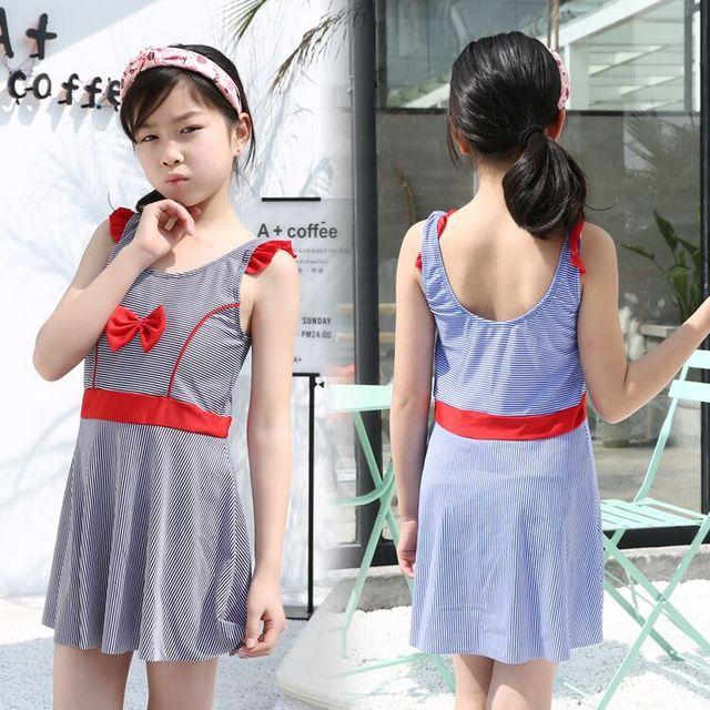 3fc795ea3e Girl's Swimsuits For Teenagers One Piece Short Dress Striped Swimwear  Bathing suits Beach Wear Teenager Children kinder badpak