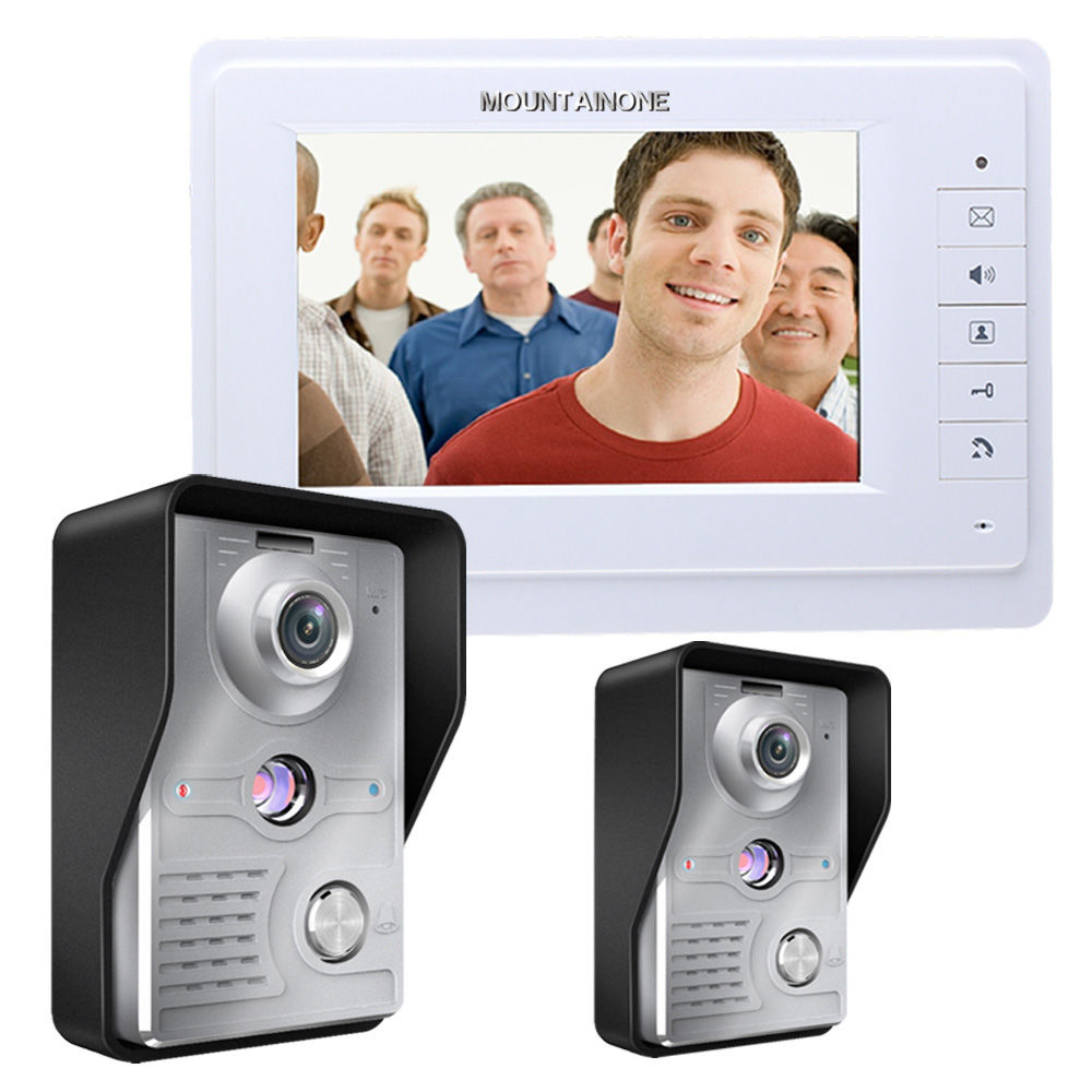 Two to One Video Doorbell 2 Outdoor cameras + 1 Indoor Monitor Video Handsfree Intercom Kit System 7 Inch screen CMOS 700TV Line original 7 inch touch screen dahua dh vth1550ch color monitor with to2000a outdoor ip metal villa outdoor video intercom system