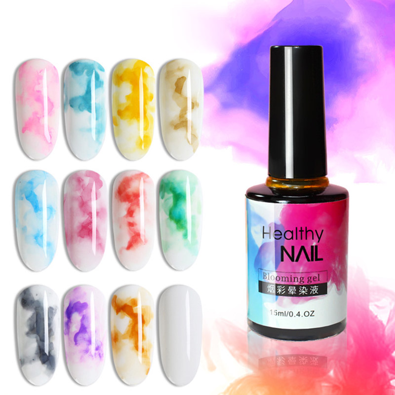 Fancy Manicure Salon Decoration: 1 Pcs Ink Nails 12 Colors Liquid Gel Inks Polish Marble
