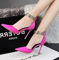 Free shipping spring pointed high-heeled shoes with suede ankle golden color stitching fine with shallow single shoes