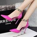 Resorte libre del envío señaló zapatos de tacón alto con botas de ante de tobillo de oro color de costura fina con los solos zapatos superficiales