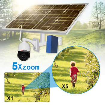 2MP speed dome solar 3G 4G wireless PTZ ip camera 1080P HD 5x zoom SD card slot  P2P outdoor CCTV security 60W solar panel
