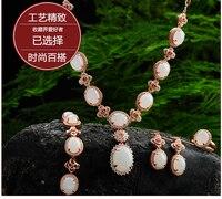Natural yu and jewelry Tian Yu set Genuine White Necklace Bracelet four piece/